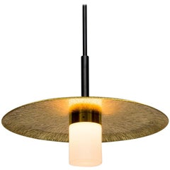Arthur Pendant with Etched & Polished Sunburst Brass Shade, Handblown Milk Glass