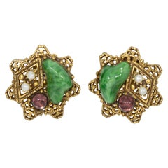 Arthur Pepper Retro Jade and Amethyst Faux Pearl Clip On Star Earrings, ART