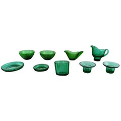 Arthur Percy for Nybro Sweden, Collection of Green Art Glass, 9 Pieces