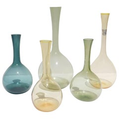 Arthur Percy Set of 5 Art Glass Bottles Made by Gullaskruf, Sweden, 1950s
