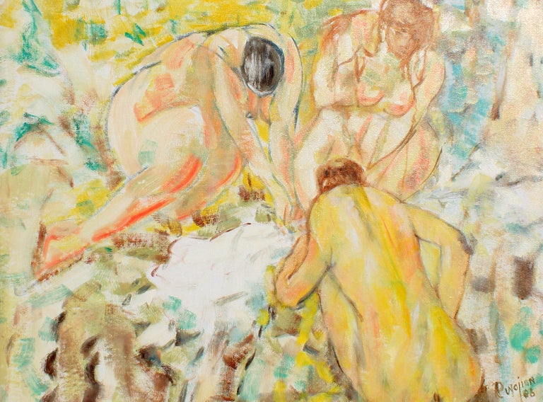 Untitled, Archived No. 201 - Beige Figurative Painting by Arthur Pinajian