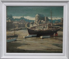 Evening Glow - St Ives Harbour - British 30's art Cornwall marine oil painting
