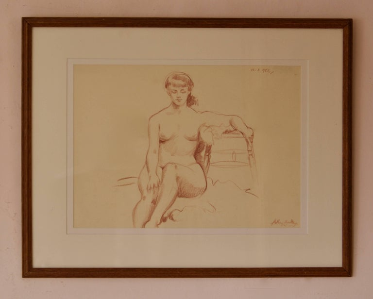 Helen - Mid 20th Century Pencil Figurative Nude Lady by Arthur Royce Bradbury For Sale 1
