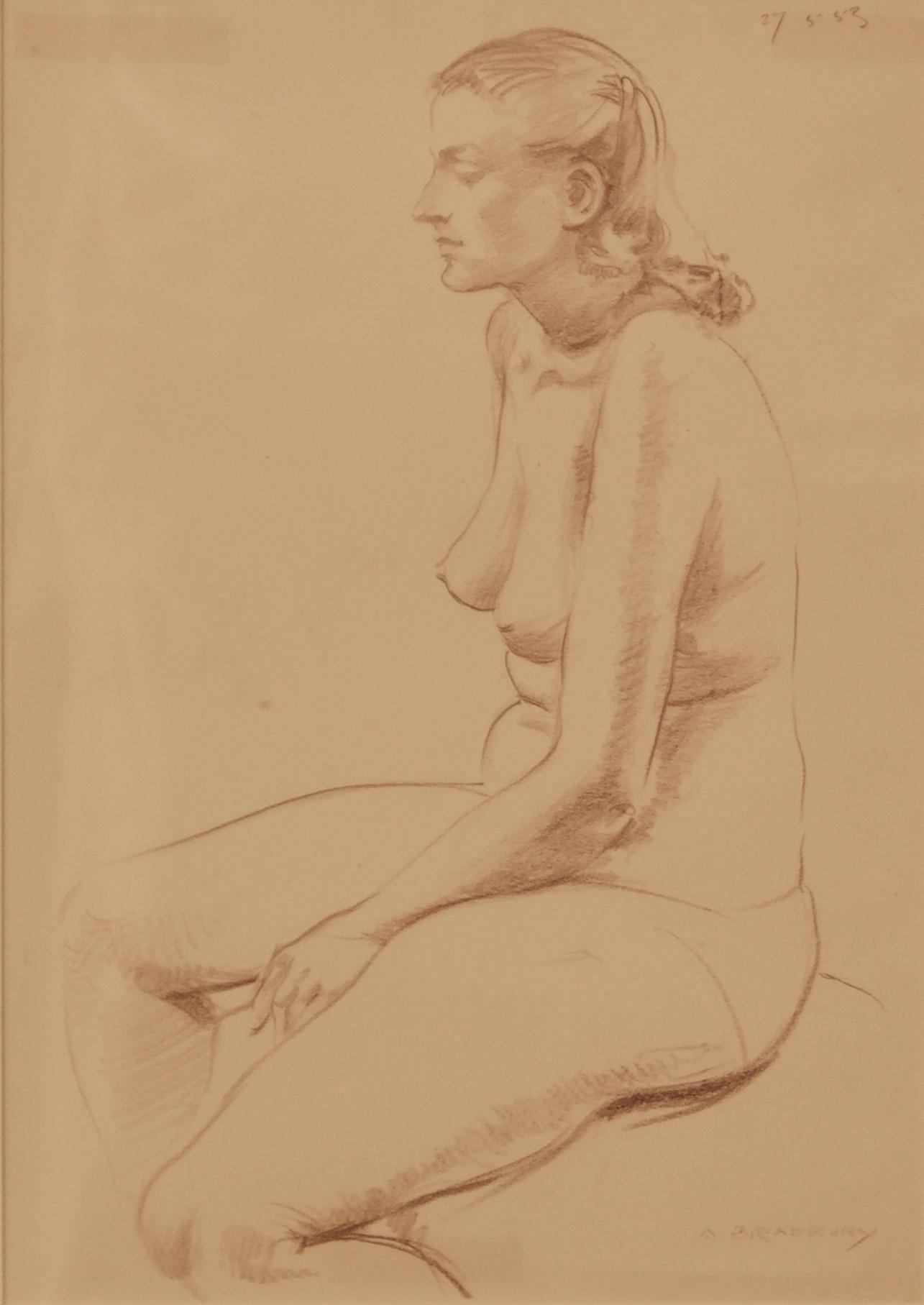 Nude Woman Still Life - Pencil Figurative Still Life of Nude Lady by A. Bradbury