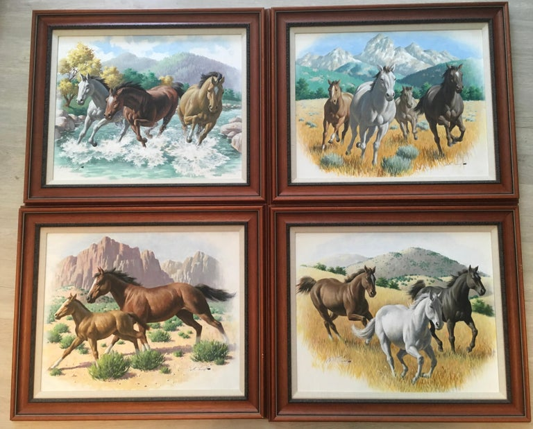 Arthur Saron Sarnoff Original Painting on Board of Horses Running in Stream  For Sale 4