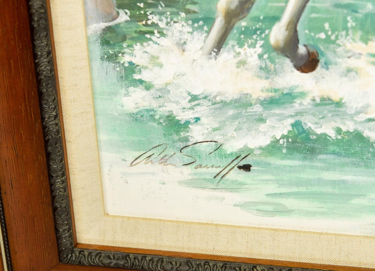 Original painting on board by Arthur Saron Sarnoff from the Estate of Charles Martignette. The piece features three horses running in the water with trees on the embankment. It is signed by the artist at the lower left. It was originally obtained as