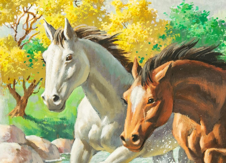 Arthur Saron Sarnoff Original Painting on Board of Horses Running in Stream  In Good Condition For Sale In Miami Beach, FL