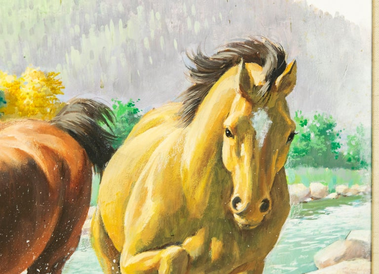 20th Century Arthur Saron Sarnoff Original Painting on Board of Horses Running in Stream  For Sale