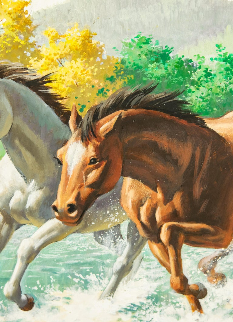 Wood Arthur Saron Sarnoff Original Painting on Board of Horses Running in Stream  For Sale