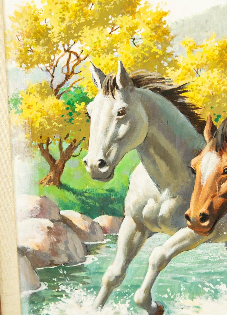 Arthur Saron Sarnoff Original Painting on Board of Horses Running in Stream  For Sale 1