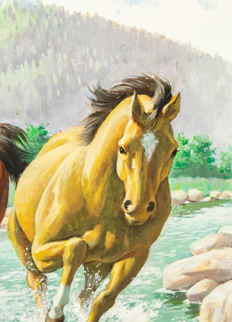 Arthur Saron Sarnoff Original Painting on Board of Horses Running in Stream  For Sale 2