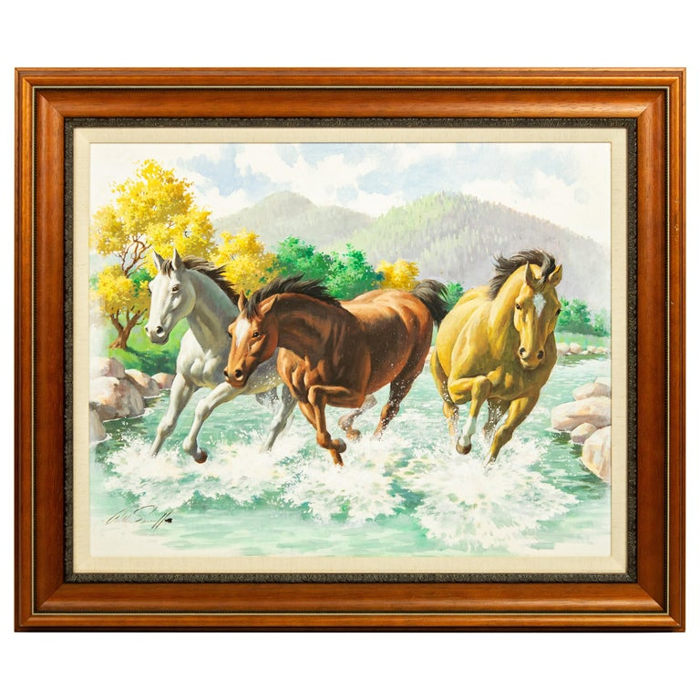 Arthur Saron Sarnoff Original Painting on Board of Horses Running in Stream  For Sale