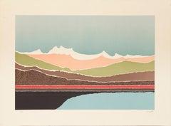 Lake, Psychedelic Landscape Serigraph by Arthur Secunda