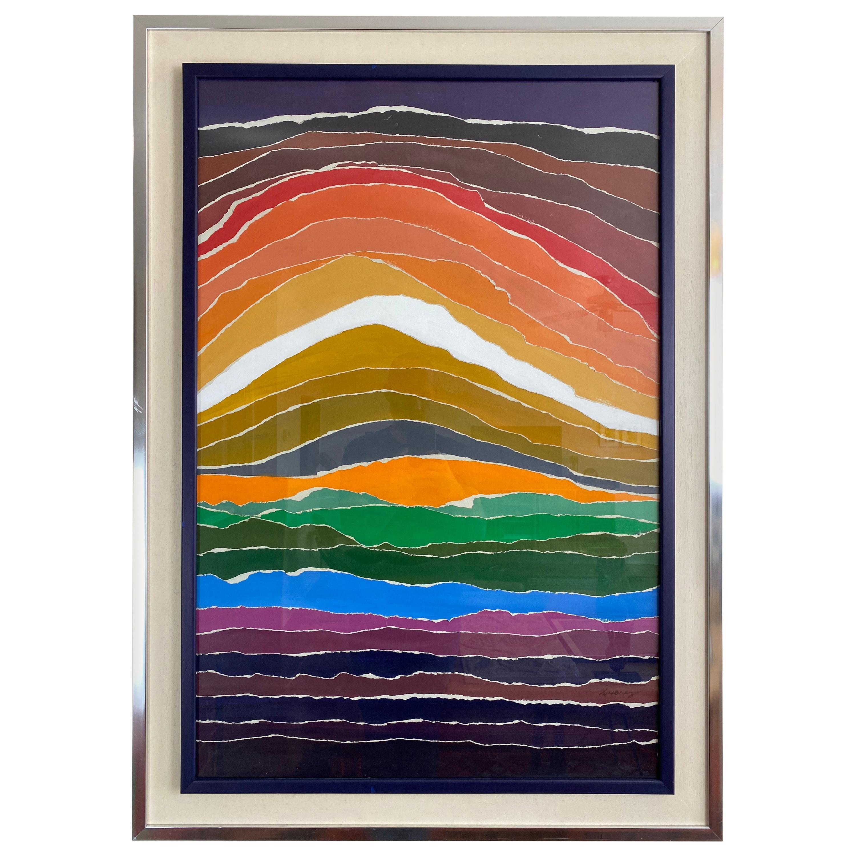 Arthur Secunda Style Modern Abstract Mixed Media Painting