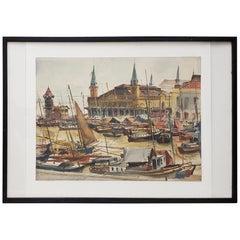 "Arthur Shilstone ""Belem, Brazil"" Original Watercolor, circa 1960s"