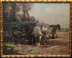 Farmer Loading Horse Drawn Cart - British 1930's Impressionist art oil painting