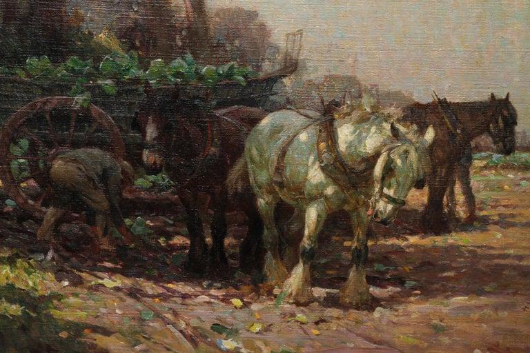 Farmer Loading Horse Drawn Cart - British 30s Impressionist art oil painting 3