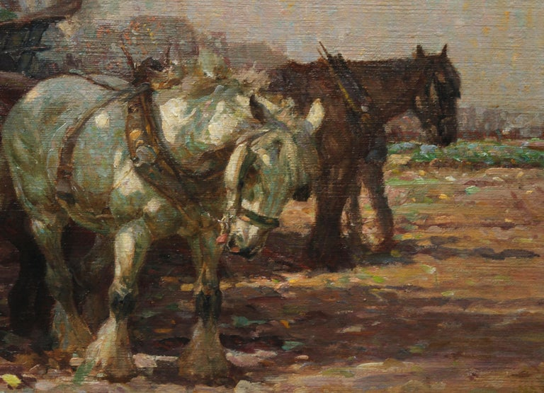 Farmer Loading Horse Drawn Cart - British 30s Impressionist art oil painting 4