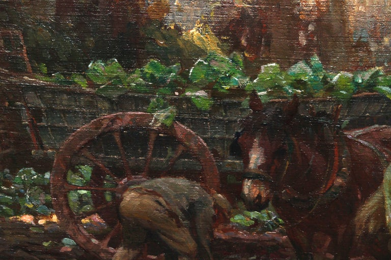 Farmer Loading Horse Drawn Cart - British 30s Impressionist art oil painting 5