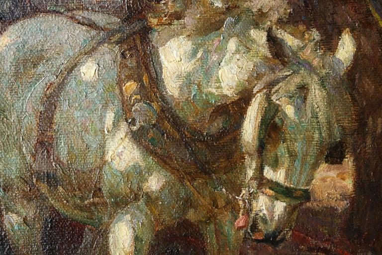 Farmer Loading Horse Drawn Cart - British 30s Impressionist art oil painting 7
