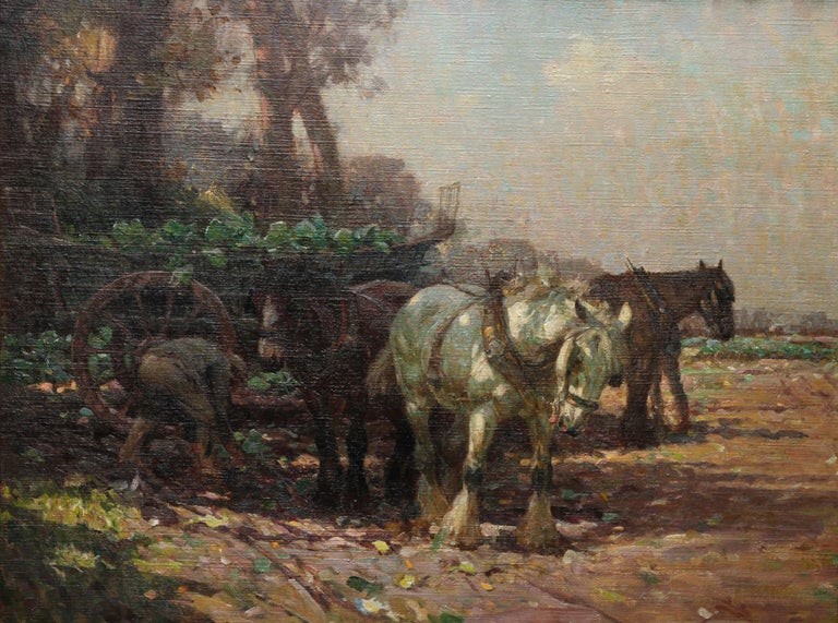 Farmer Loading Horse Drawn Cart - British 30s Impressionist art oil painting 9