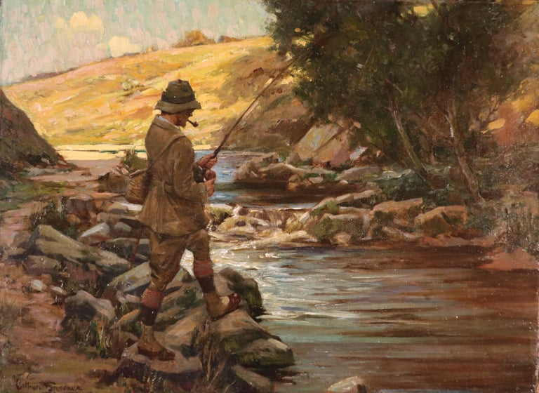 """Arthur Spooner Landscape Painting - """"Fisherman on the bank of a river"""""""