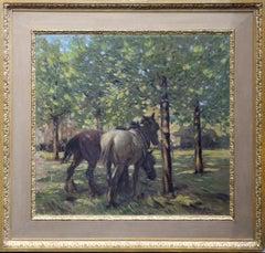 Portrait of Horses in Dappled Sunlight - British 30's Impressionist oil painting