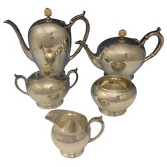Arthur Stone Sterling Silver Tea Set of Handwrought Five-Piece Hollowware