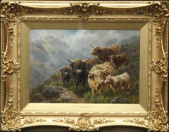 Hillside Cattle Glen Croe Argyll - British animal art landscape oil painting