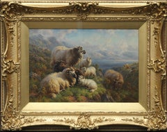 Sheep at Loch Tay Perthshire - British 1910 Edwardian art landscape oil painting