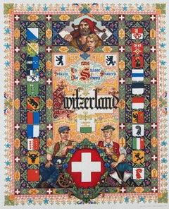 Switzerland Swiss Folk Art Print Artist Arthur Szyk Judaica Cartoonist