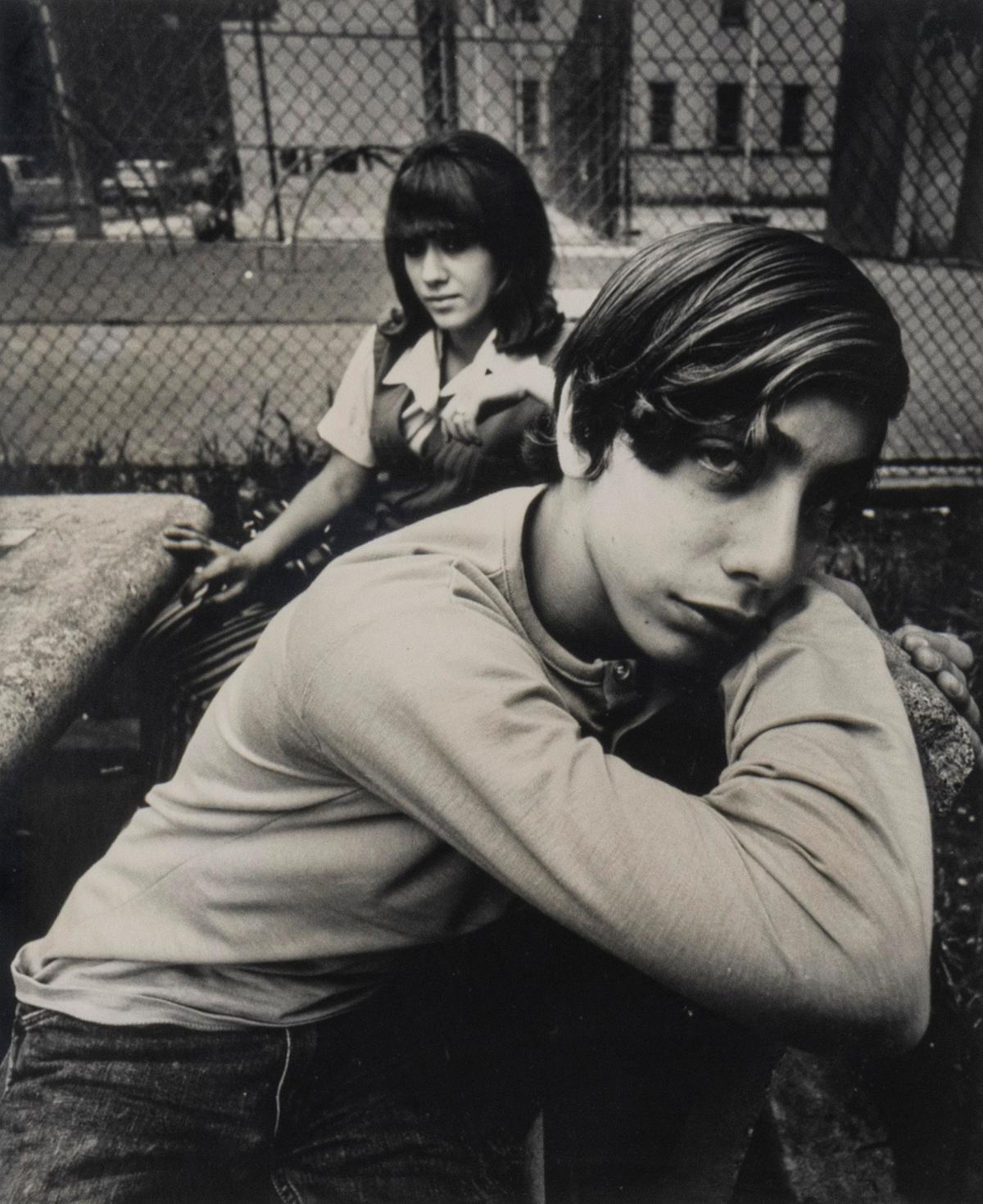 Two Teenagers in a Housing Project Park