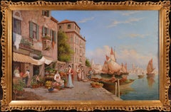 St. Mark's from the Giudecca - Very Large 19th Century Oil Painting of Venice