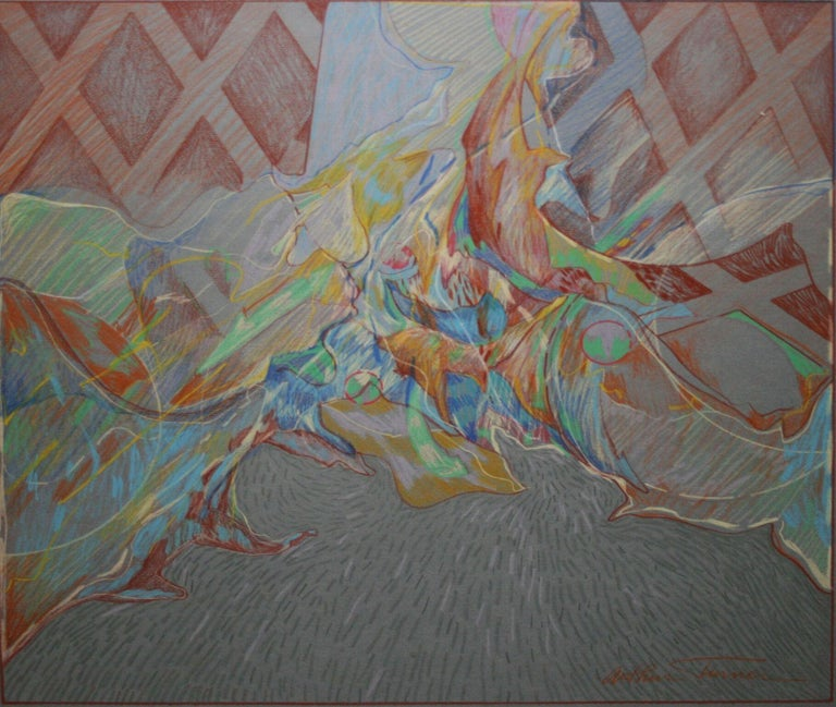"""Arthur Turner Abstract Drawing - """"Chimayo"""" Prisma Colored Pencil Drawing"""