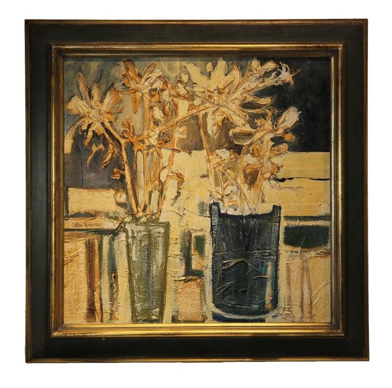 Arthur Turner Interior Painting - Textured Still Life of Flowers in Vases
