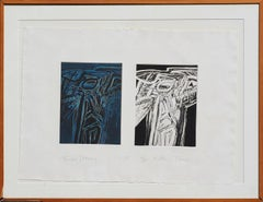 """""""Twin Totems"""" Blue and Black Double Abstract Figurative Prints"""