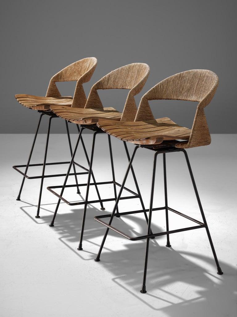 Mid-Century Modern Set of Three Barstools by Arthur Umanoff