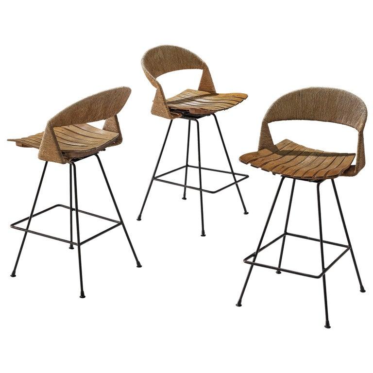 Set of Three Barstools by Arthur Umanoff