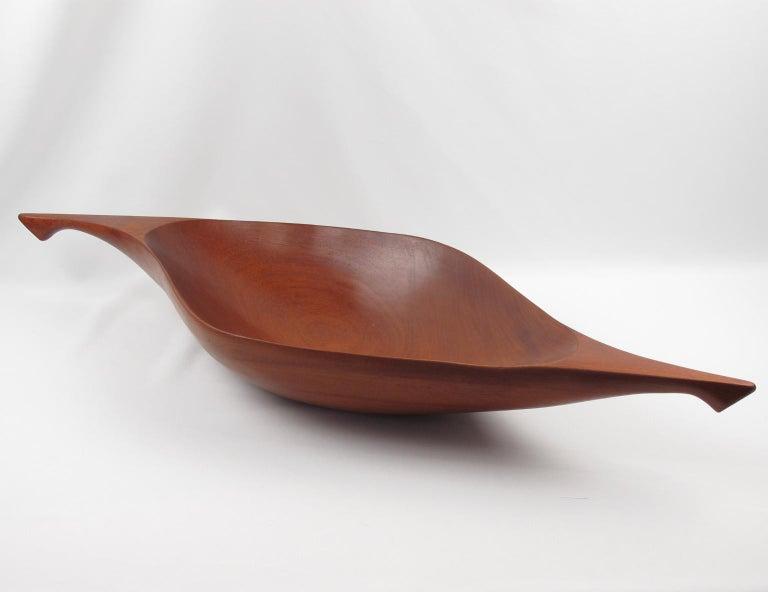 Arthur Umanoff Carved Wood Taverneau Canoe Bowl Centerpiece For Sale 1