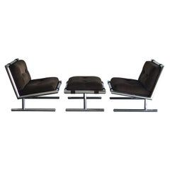 Arthur Umanoff Chrome Lounge/ Slipper Chairs and Ottoman for Directional, 1971