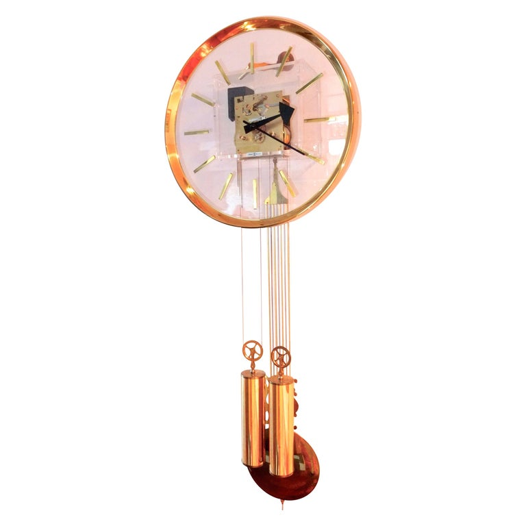 Arthur Umanoff for Howard Miller Brass and Lucite Wall Clock For Sale