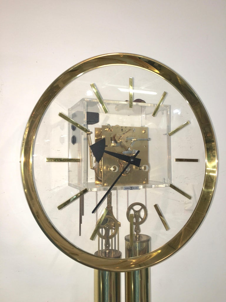 Arthur Umanoff for Howard Miller Brass and Lucite Wall Clock For Sale 7