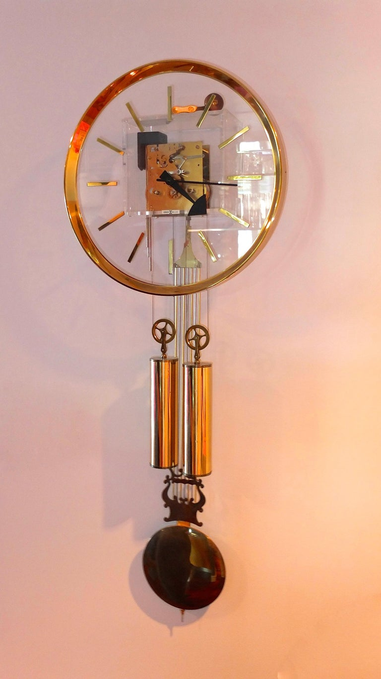 Late 20th Century Arthur Umanoff for Howard Miller Brass and Lucite Wall Clock For Sale
