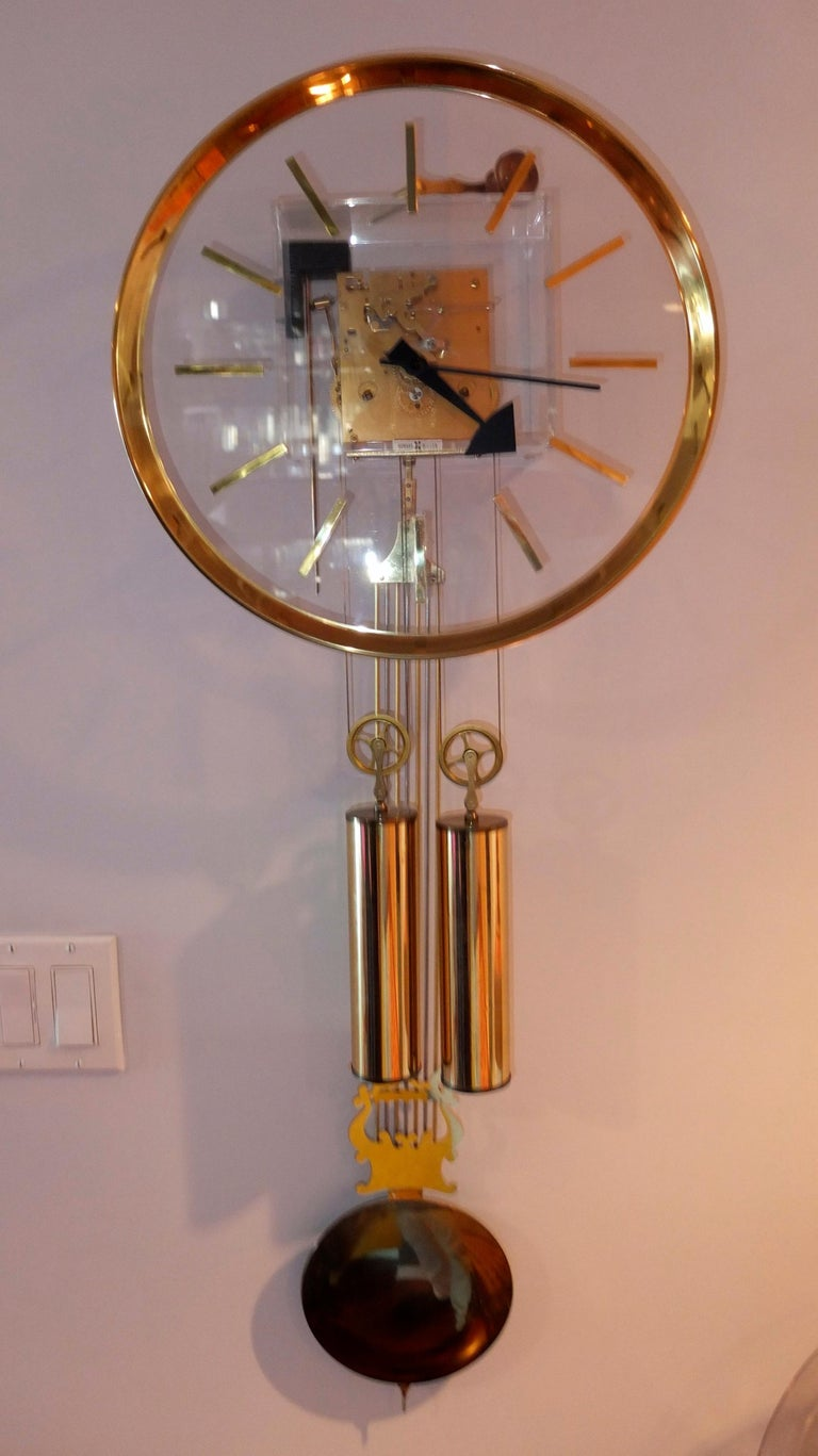 Arthur Umanoff for Howard Miller Brass and Lucite Wall Clock For Sale 1