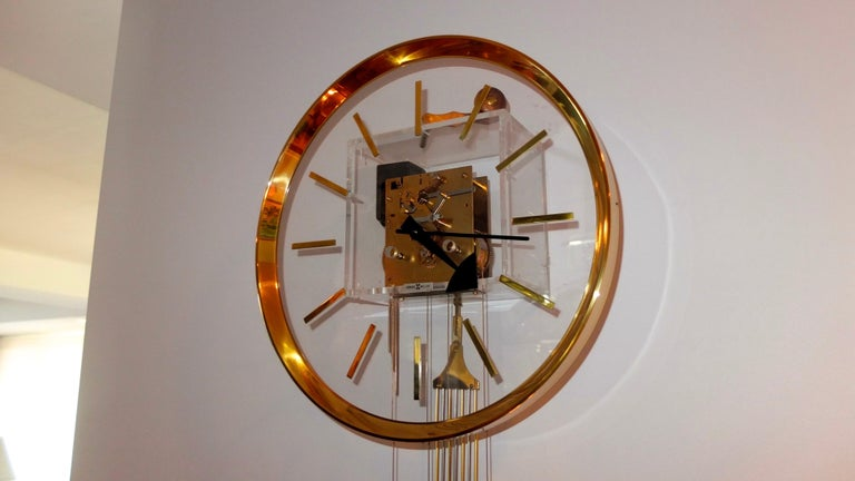 Arthur Umanoff for Howard Miller Brass and Lucite Wall Clock For Sale 2
