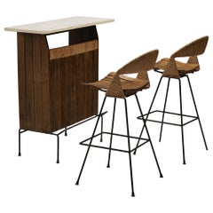 Arthur Umanoff for Raymor Dry Bar with Bar Stools