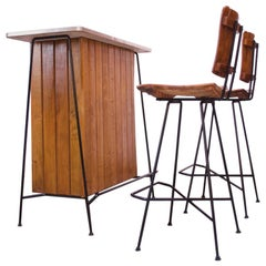 Arthur Umanoff for Raymor Iron and Birch-Slat Bar with Stools