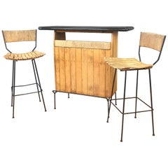 Arthur Umanoff for Shaver Howard and Raymor Dry Bar & Stools Set