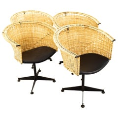 Arthur Umanoff for Shaver Howard Midcentury Iron and Vinyl Wicker Chairs, Four