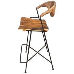 Arthur Umanoff Iron Wood Wicker Counter Bar Stool 1950s Mid-Century Modern